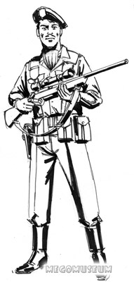 Early production sketch of Eagle Force Sharpshooter Eagle Eye whose name was changed in production to Stryker