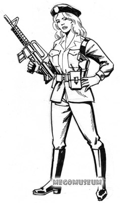 Early production sketch of Eagle Force Member Goldie Hawk