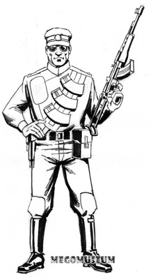 Early production sketch of R.I.O,T Shock Trooper