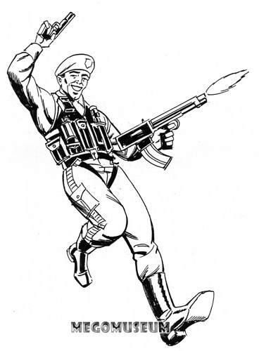 Early production sketch of Mego Eagle Force Chute