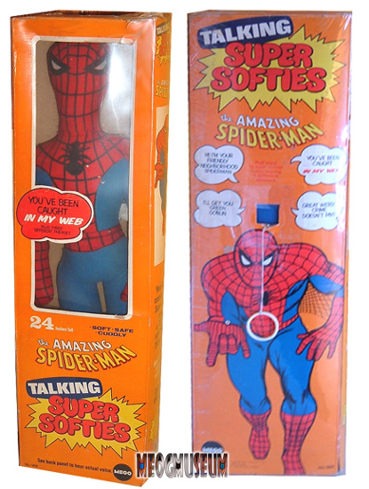 The Mego Super Softie Spiderman is a true rarity to find MIB