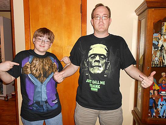 Frankenstein and Werewolf shirts