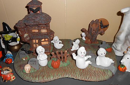 this village setting was made by a local artist who worked in ceramics my mom bought a lot of items from her and sold them at her store - Hallmark Halloween Decorations