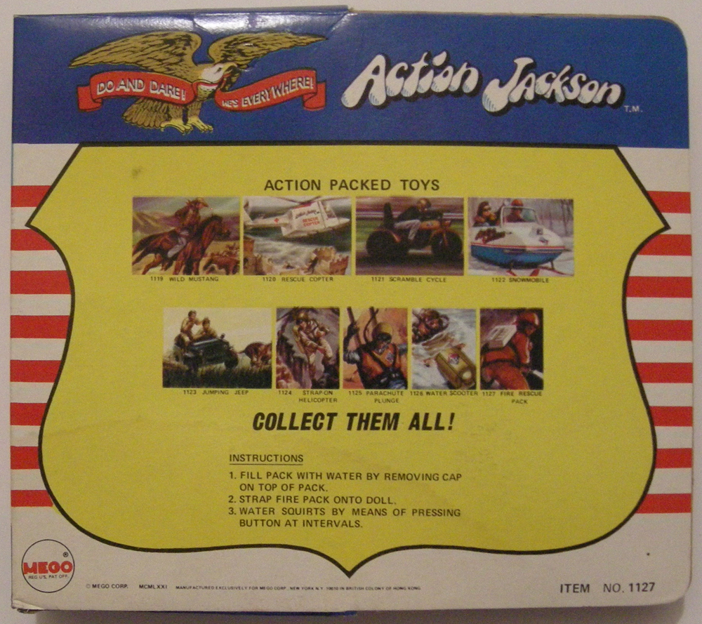 mego action jackson fire rescue pack back