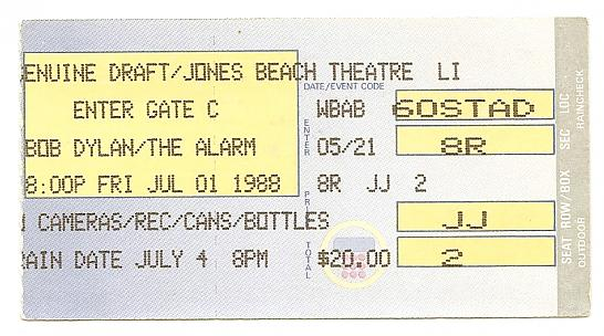 Bob Dylan The Alarm Ticket Stub