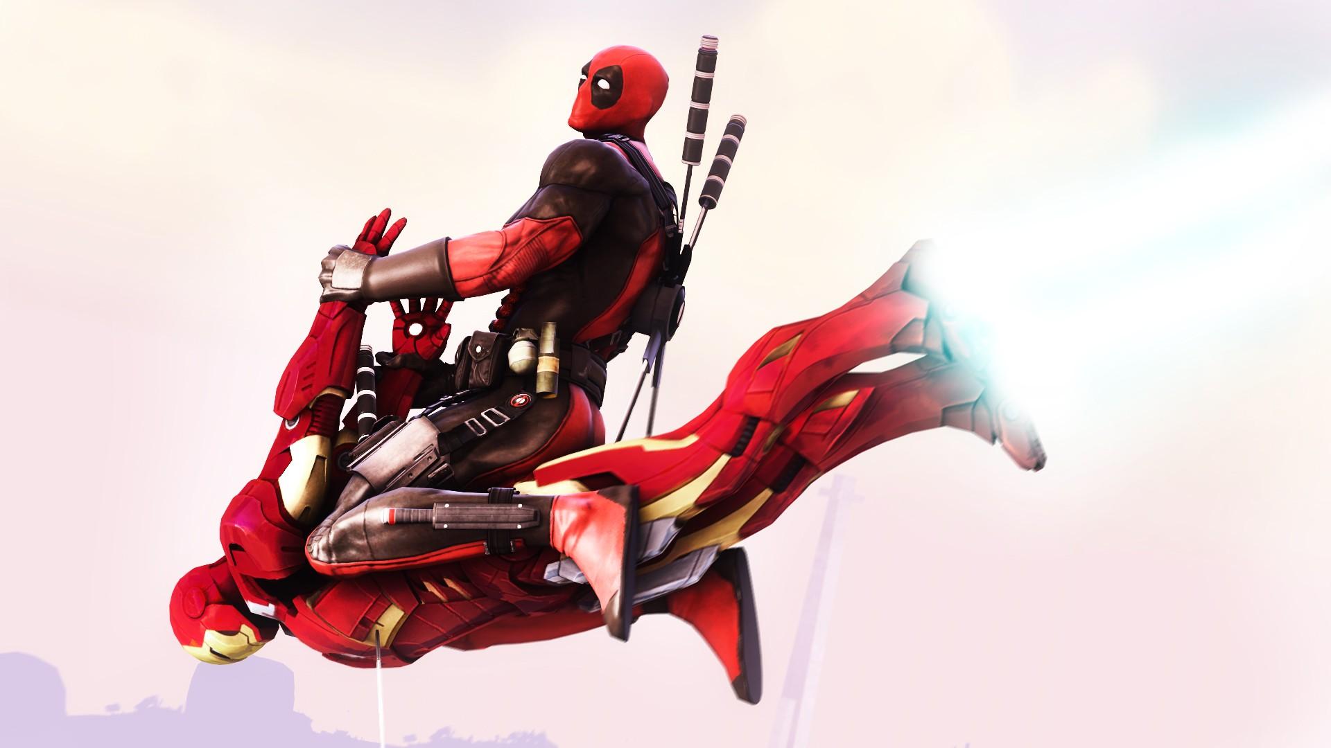 Deadpool rides Ironman