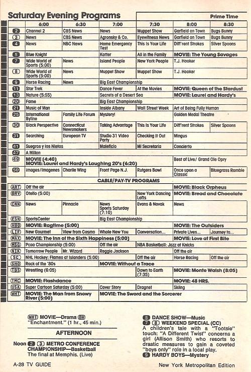 3/10/1984 saturday morning tv schedule.